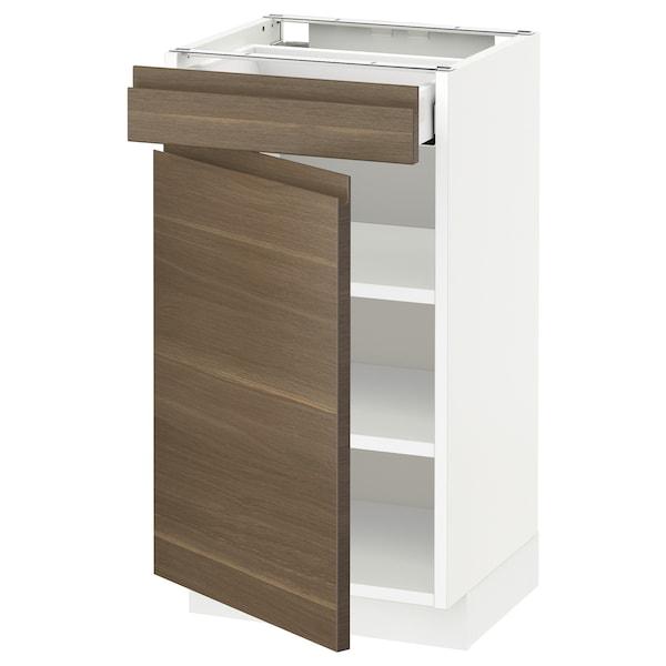 METOD Base cabinet with drawer/door, white Maximera/Voxtorp walnut, 40x37x70 cm