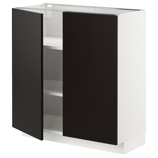 METOD Base cabinet with shelves/2 doors, white/Uddevalla anthracite, 80x37x80 cm