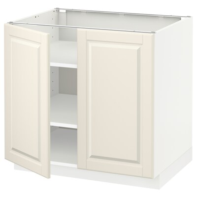 METOD base cabinet with shelves/2 doors white/Bodbyn off-white 80 cm 60 cm 61.9 cm 70 cm