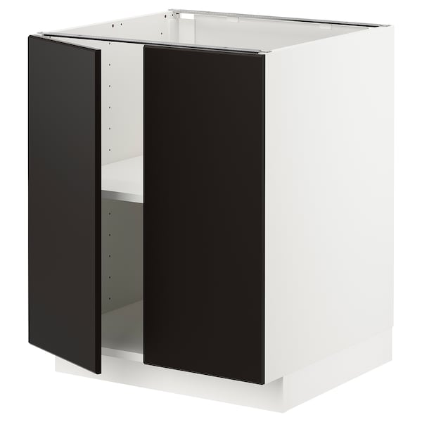 METOD base cabinet with shelves/2 doors white/Kungsbacka anthracite 60.0 cm 60 cm 61.6 cm 70.0 cm