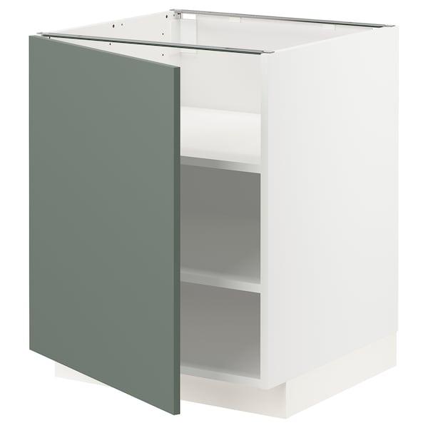 METOD Base cabinet with shelves, white/Bodarp grey-green, 60x60x70 cm