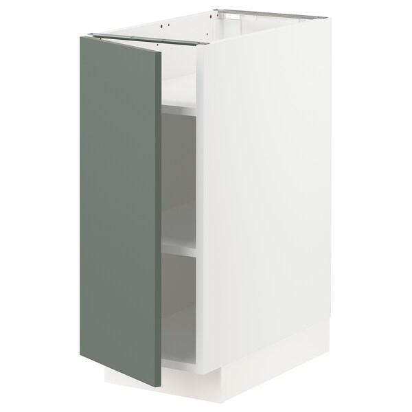 METOD Base cabinet with shelves, white/Bodarp grey-green, 30x60x70 cm