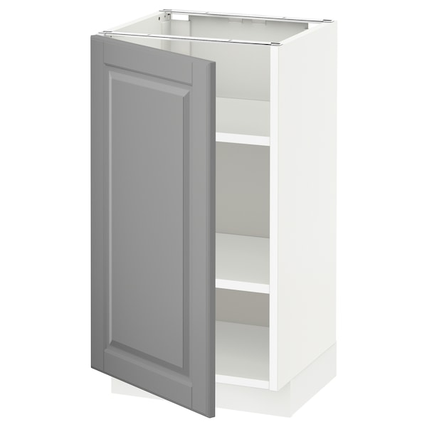 METOD Base cabinet with shelves, white/Bodbyn grey, 40x37x70 cm