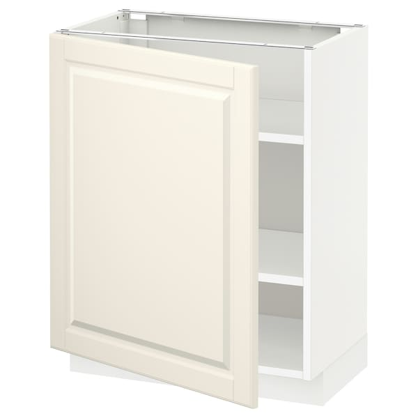 METOD Base cabinet with shelves, white/Bodbyn off-white, 60x37x70 cm