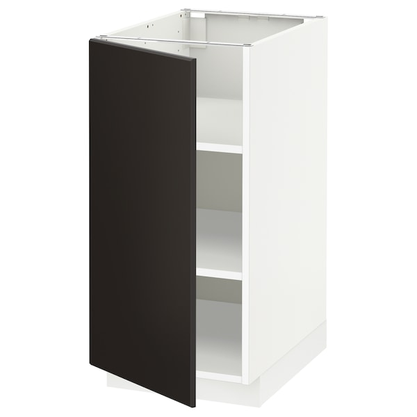 METOD Base cabinet with shelves, white/Kungsbacka anthracite, 40x60x80 cm