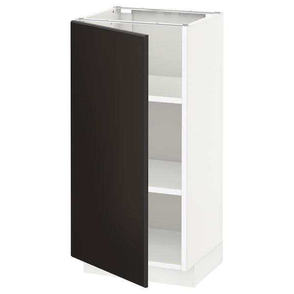 METOD Base cabinet with shelves, white/Kungsbacka anthracite, 40x37x80 cm