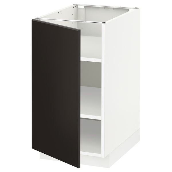 METOD Base cabinet with shelves, white/Kungsbacka anthracite, 40x60x70 cm