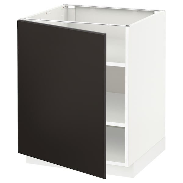 METOD Base cabinet with shelves, white/Kungsbacka anthracite, 60x60x70 cm