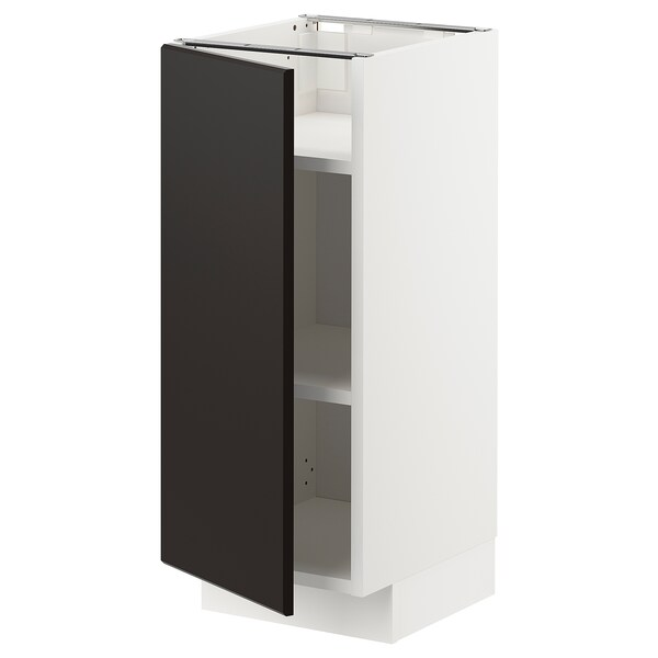 METOD Base cabinet with shelves, white/Kungsbacka anthracite, 30x37x70 cm