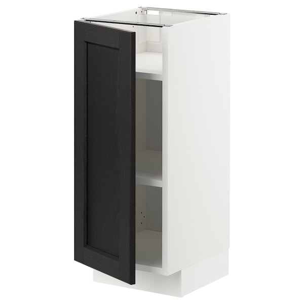 METOD Base cabinet with shelves, white/Lerhyttan black stained, 30x37x70 cm