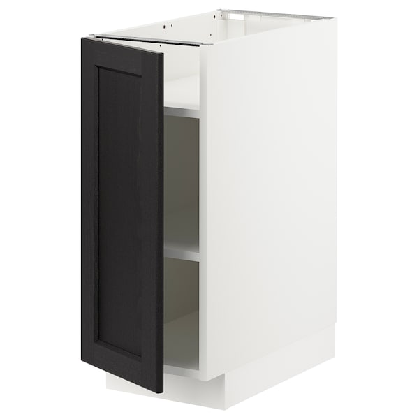 METOD Base cabinet with shelves, white/Lerhyttan black stained, 30x60x70 cm