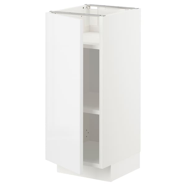 METOD Base cabinet with shelves, white Ringhult/high-gloss white, 30x37x70 cm