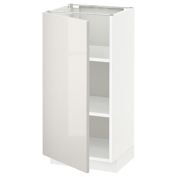 METOD Base cabinet with shelves, white/Ringhult light grey, 40x37x80 cm