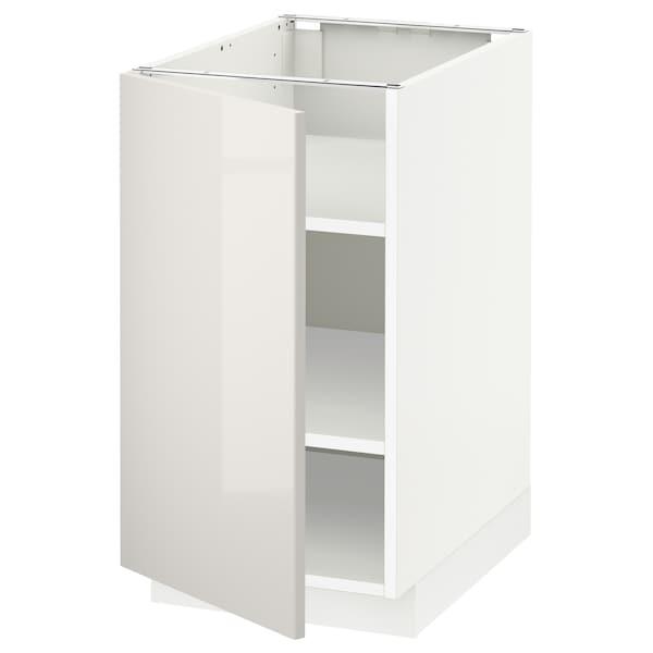 METOD Base cabinet with shelves, white/Ringhult light grey, 40x60x70 cm