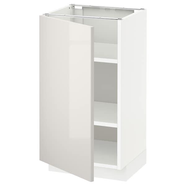 METOD Base cabinet with shelves, white/Ringhult light grey, 40x37x70 cm
