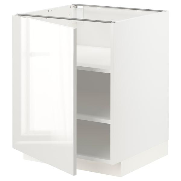 METOD Base cabinet with shelves, white/Ringhult light grey, 60x60x70 cm