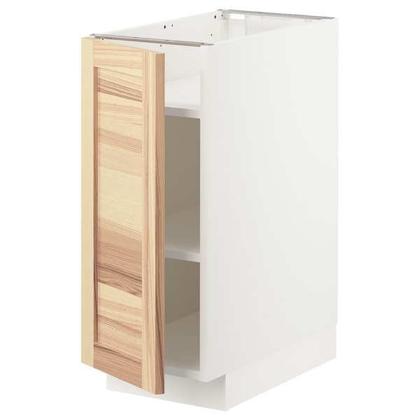 METOD Base cabinet with shelves, white/Torhamn ash, 30x60x70 cm