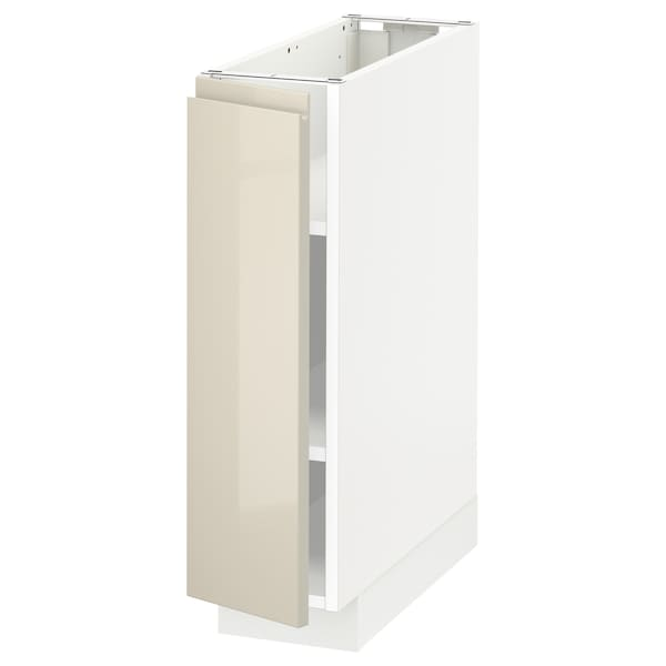 METOD Base cabinet with shelves, white/Voxtorp high-gloss light beige, 20x60x70 cm