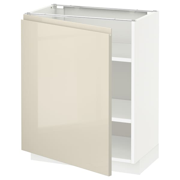 METOD Base cabinet with shelves, white/Voxtorp high-gloss light beige, 60x37x70 cm