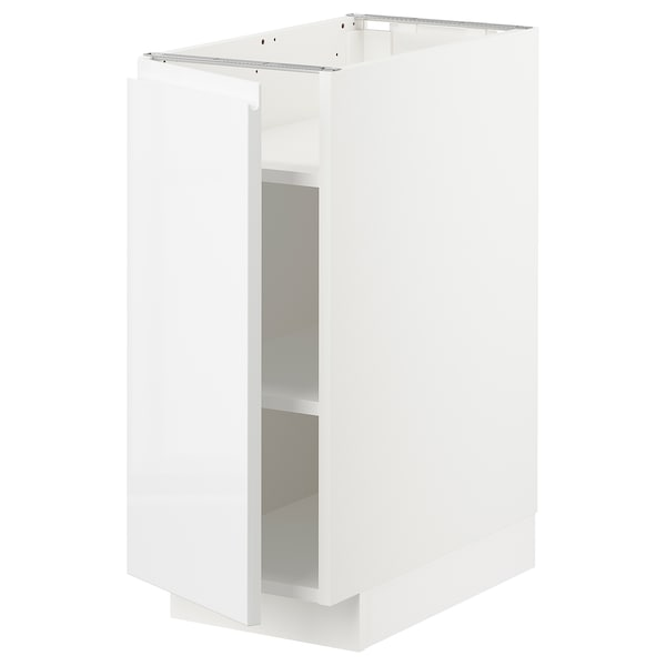 METOD Base cabinet with shelves, white/Voxtorp high-gloss/white, 30x60x70 cm