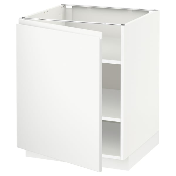 METOD Base cabinet with shelves, white/Voxtorp matt white, 60x60x70 cm