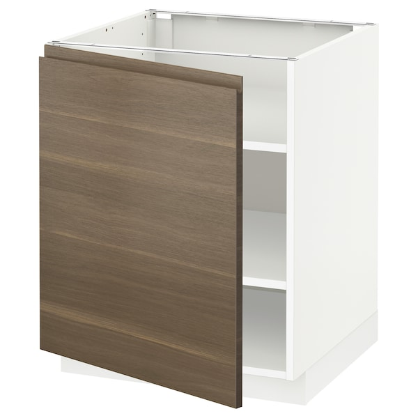 METOD Base cabinet with shelves, white/Voxtorp walnut effect, 60x60x70 cm