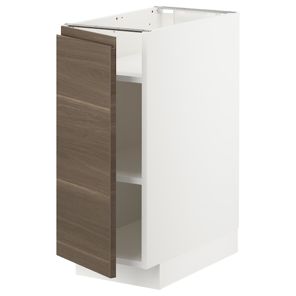 METOD Base cabinet with shelves, white/Voxtorp walnut effect, 30x60x70 cm