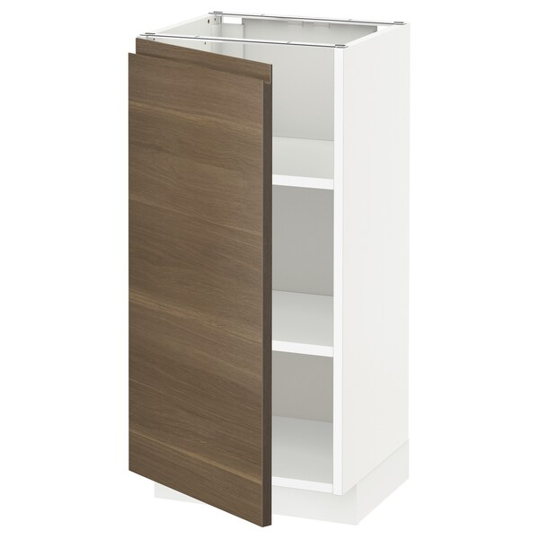 METOD Base cabinet with shelves, white/Voxtorp walnut, 40x37x80 cm