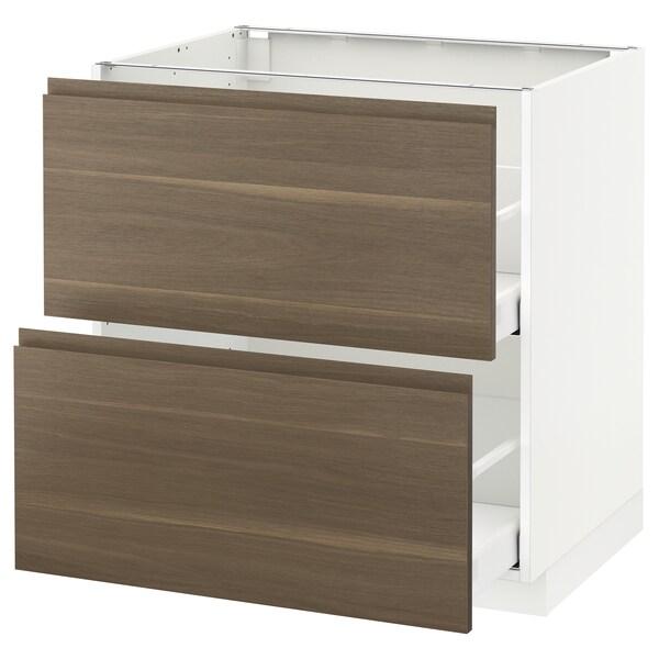 METOD Base cb 2 fronts/2 high drawers, white Maximera/Voxtorp walnut, 80x60x80 cm