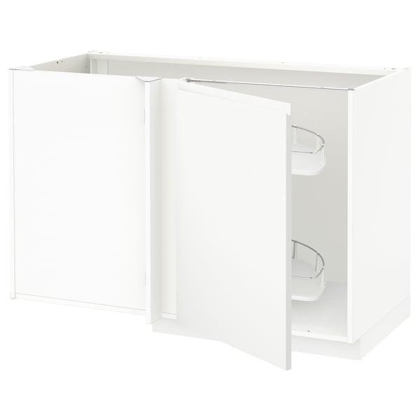 METOD Corner base cab w pull-out fitting, white/Voxtorp matt white, 128x68x80 cm