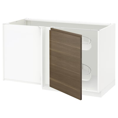 METOD corner base cab w pull-out fitting white/Voxtorp walnut 127.5 cm 62.1 cm 70 cm