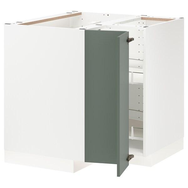 METOD Corner base cabinet with carousel, white/Bodarp grey-green, 88x88x80 cm