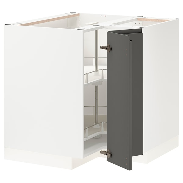 METOD Corner base cabinet with carousel, white/Voxtorp dark grey, 88x88x80 cm