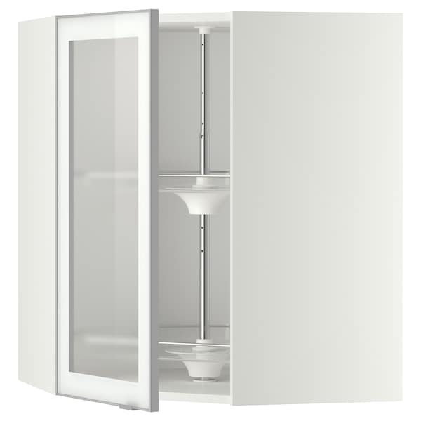 METOD Corner wall cab w carousel/glass dr, white/Jutis frosted glass, 68x37x80 cm
