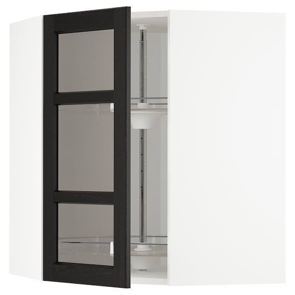 METOD Corner wall cab w carousel/glass dr, white/Lerhyttan black stained, 68x37x80 cm