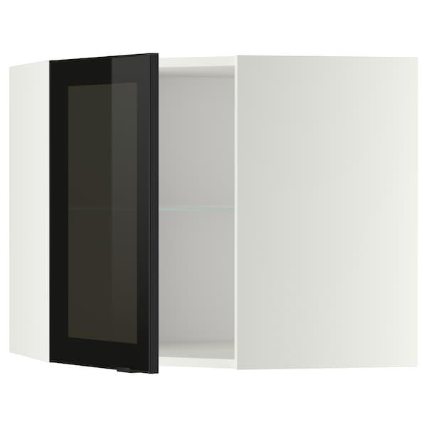 METOD Corner wall cab w shelves/glass dr, white/Jutis smoked glass, 68x37x60 cm