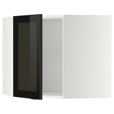 METOD Corner wall cab w shelves/glass dr, white/Jutis smoked glass, 68x37x60 cm