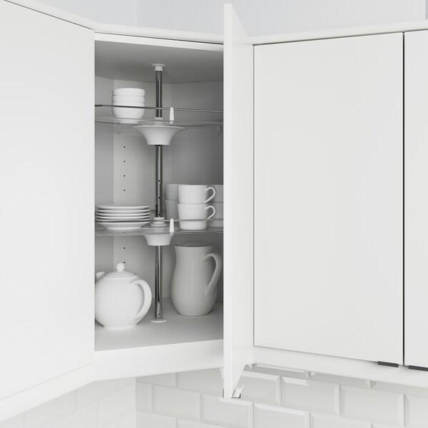 METOD Corner wall cabinet with carousel, white/Bodarp grey-green, 68x37x80 cm