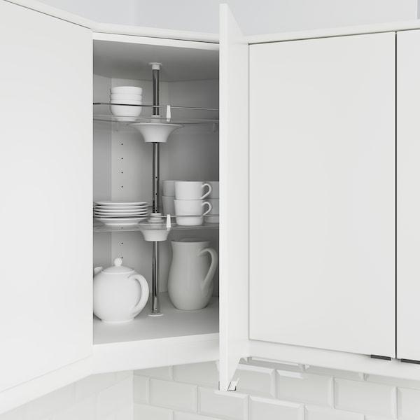 METOD Corner wall cabinet with carousel, white/Bodbyn grey, 68x37x80 cm