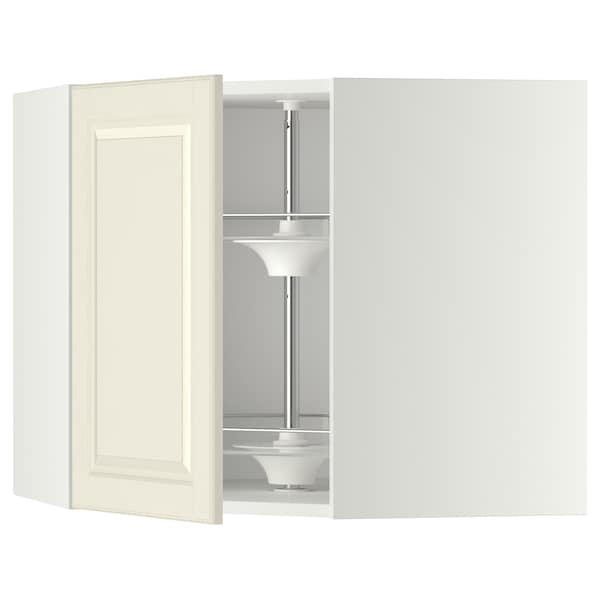 METOD Corner wall cabinet with carousel, white/Bodbyn off-white, 68x37x60 cm