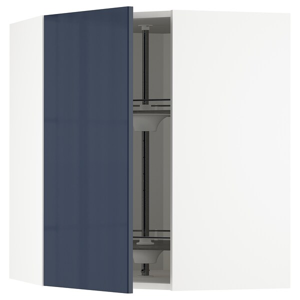 METOD Corner wall cabinet with carousel, white/Järsta black-blue, 68x37x80 cm