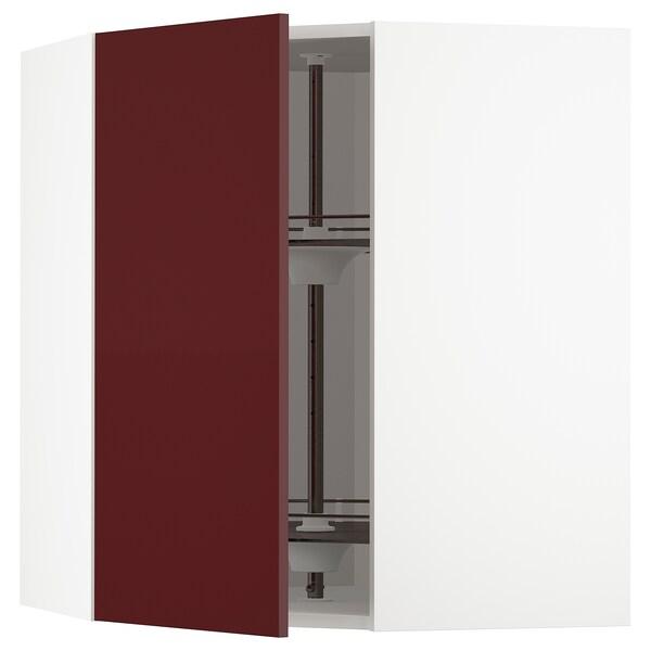METOD Corner wall cabinet with carousel, white Kallarp/high-gloss dark red-brown, 68x37x80 cm