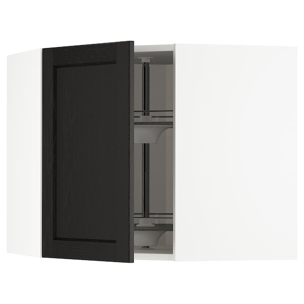 METOD Corner wall cabinet with carousel, white/Lerhyttan black stained, 68x37x60 cm
