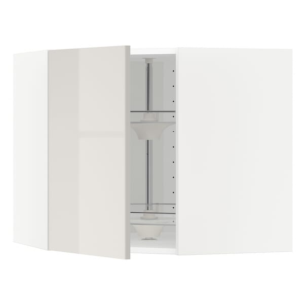 METOD Corner wall cabinet with carousel, white/Ringhult light grey, 68x37x60 cm