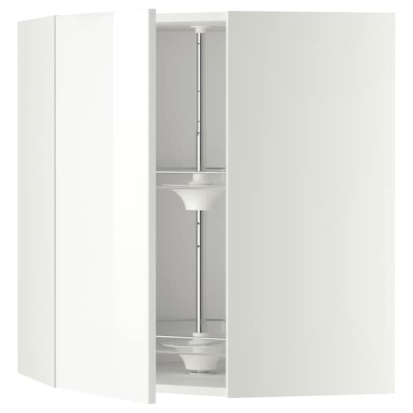 METOD Corner wall cabinet with carousel, white/Ringhult white, 68x37x80 cm