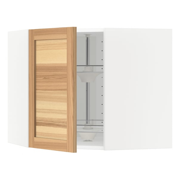 METOD Corner wall cabinet with carousel, white/Torhamn ash, 68x37x60 cm