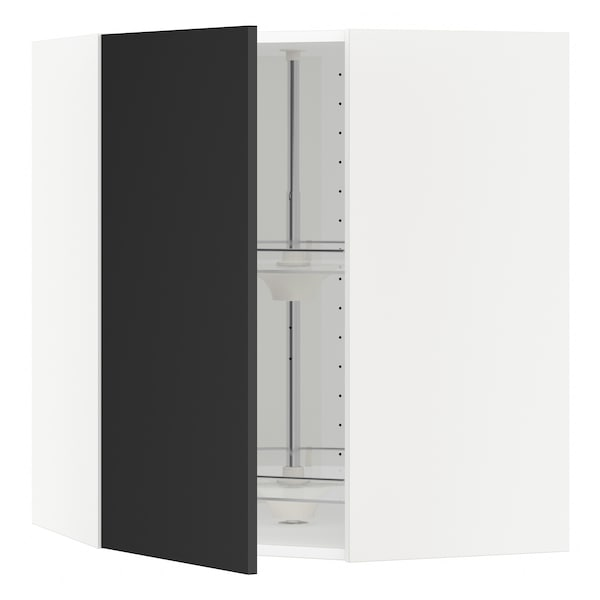 METOD Corner wall cabinet with carousel, white/Uddevalla anthracite, 68x37x80 cm