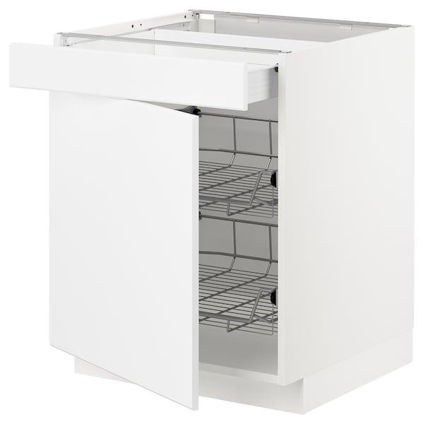 METOD / FÖRVARA Base cab w wire basket/drawer/door, white/Kungsbacka matt white, 60x60x70 cm