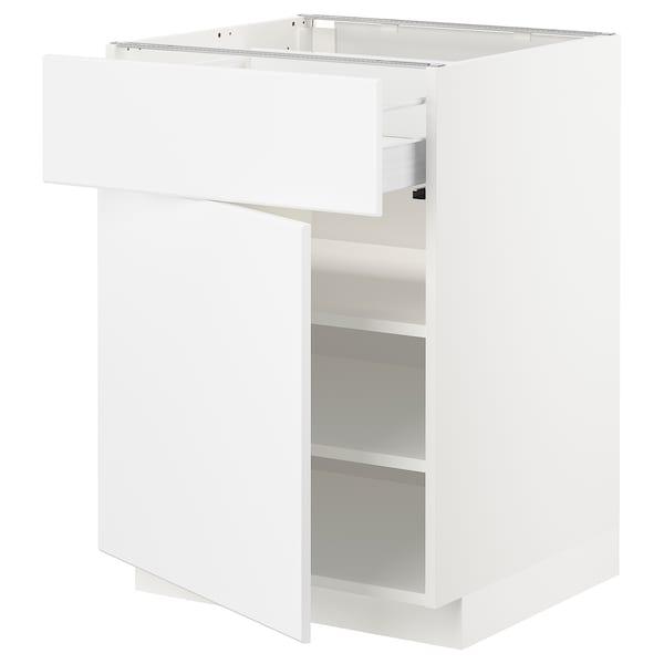 METOD / FÖRVARA Base cabinet with drawer/door, white/Kungsbacka matt white, 60x60x80 cm
