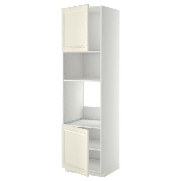METOD Hi cb f oven/micro w 2 drs/shelves, white/Bodbyn off-white, 60x60x220 cm